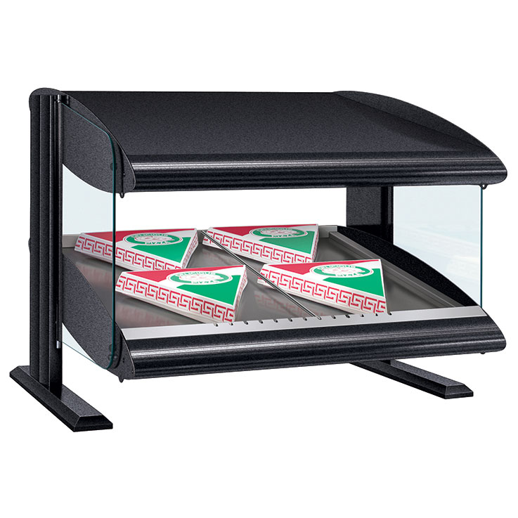 HXMS Heated LED Merchandiser | Slanted Single Shelf Display