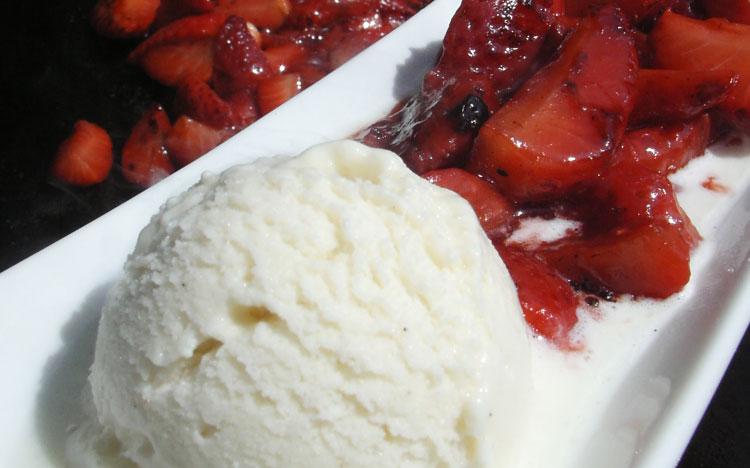 Strawberries with Balsamic Vinegar & Vanilla Ice Cream