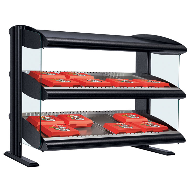 HXMS-xxD Heated LED Merchandiser | Dual Slant Shelf Display